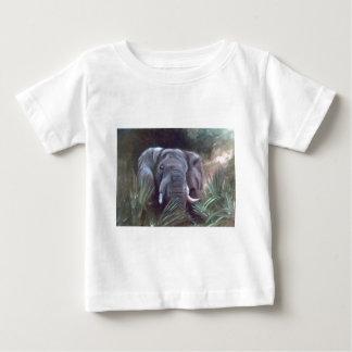 象のポートレートの乳児のTシャツ ベビーTシャツ