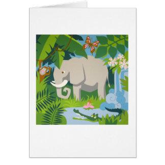 象のメッセージカード カード