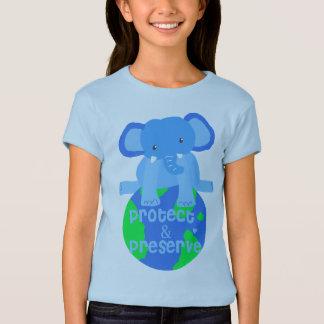 象の保存地球 Tシャツ