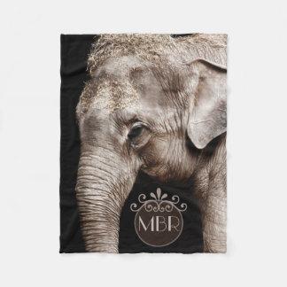 象の写真のイメージのモノグラム フリースブランケット