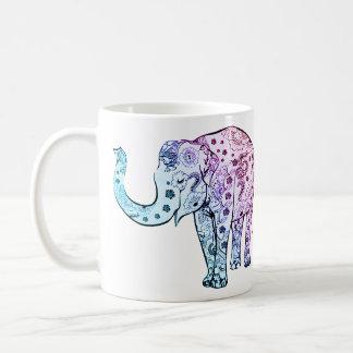 象の動物の多彩でアートな茶コーヒー・マグ コーヒーマグカップ