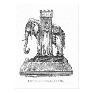 象の噴水設置されているde la Bastill、パリ ポストカード