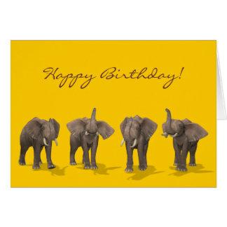 象の四つ組のハッピーバースデー カード