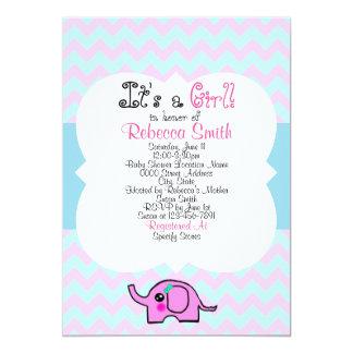 象の女の子のベビーシャワーポスター 12.7 X 17.8 インビテーションカード
