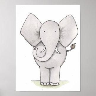 象の子供部屋の芸術 ポスター