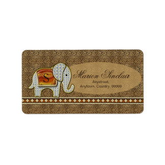 象の歩行のモノグラムのチータID390 ラベル
