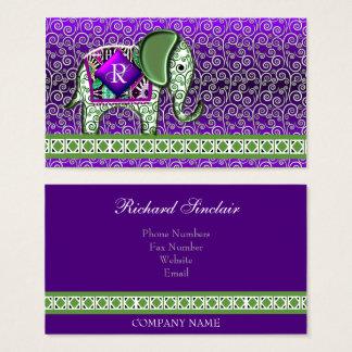 象の歩行のモノグラムの紫色の渦巻 名刺
