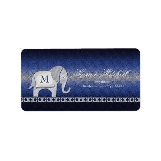 象の歩行のモノグラムの銀か青いID390 ラベル