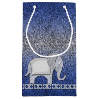 象の歩行のモノグラムの銀ID390 スモールペーパーバッグ