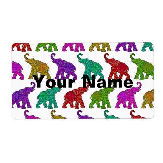 象の歩行パターンタイルのデザイン + あなたの文字 ラベル