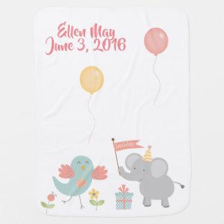 象の気球は新生児毛布を祝います ベビー ブランケット