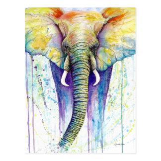 象の水彩画の芸術 ポストカード