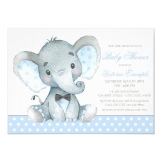 象の男の赤ちゃんのシャワーの招待状 カード