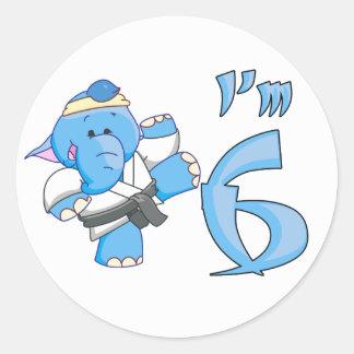象の空手の第6誕生日 ラウンドシール