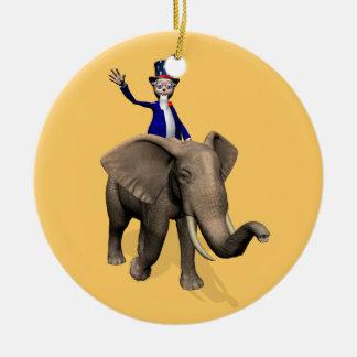 象の米国市民乗馬 セラミックオーナメント