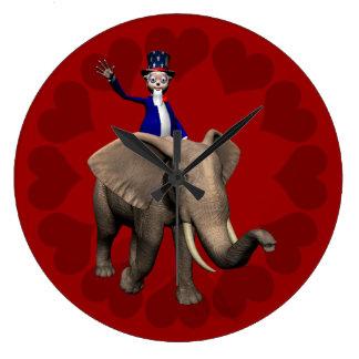 象の米国市民乗馬 ラージ壁時計