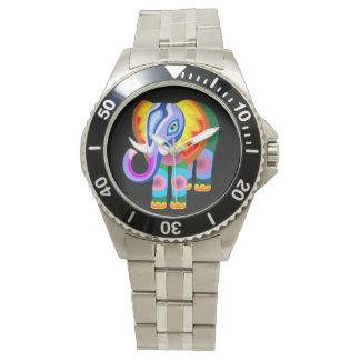 象の虹はパッチワークの腕時計を着色します 腕時計
