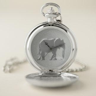 象の銀製のシルエットのシンプルでエレガントな上品 ポケットウォッチ