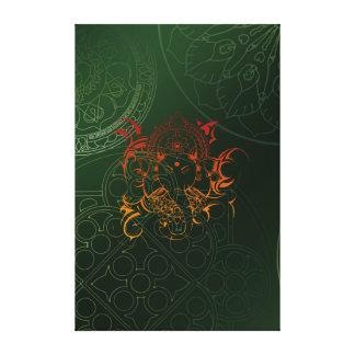 象のGaneshaの黄橙色の緑曼荼羅 キャンバスプリント