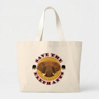 象を救って下さい ラージトートバッグ