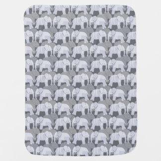 象パターンベビーブランケット-灰色 ベビー ブランケット