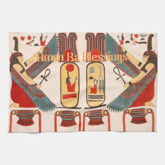 象形文字および恵みのエジプトの神のアモンのRA キッチンタオル