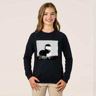 象雨芸術ので女の子のRaglanのスエットシャツ スウェットシャツ