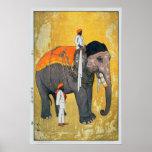 象、象、ひろし吉田の木版画 ポスター