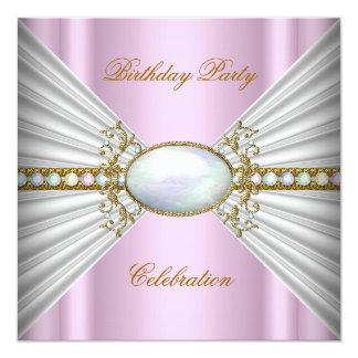豪奢でエレガントなピンクの白人のオパールの金ゴールドのパーティー カード