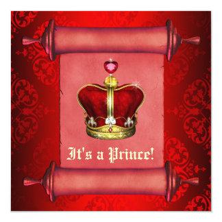 豪奢で王室ので赤い王子ベビーシャワーの招待状 カード