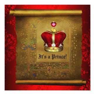 豪奢で王室のな豊富な赤の王子ベビーシャワー カード