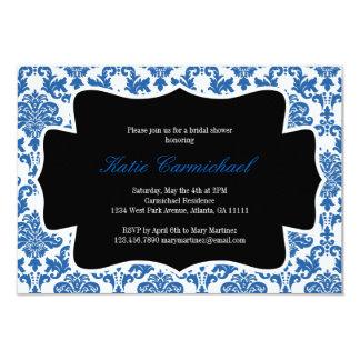 豪奢で青いダマスク織の招待状 カード