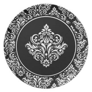 豪奢で黒いダマスク織の紋章が付いている王室のなダマスク織 お皿