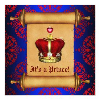 豪奢なロイヤルブルーの王子ベビーシャワーの招待状 カード