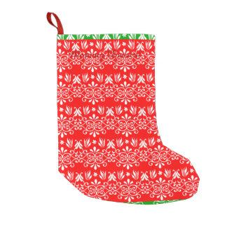 豪奢な層にされた緑及び赤 スモールクリスマスストッキング