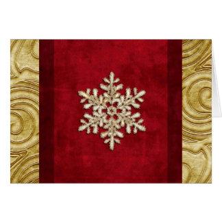 豪奢な赤および金ゴールドの雪片の休日カード カード