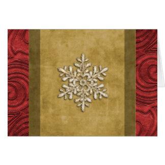 豪奢な金ゴールドおよび赤い雪片の休日カード カード