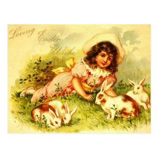 豪華でビクトリアンな女の子のイースターのウサギの郵便はがき ポストカード