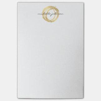 豪華で模造のな金ゴールドの色彩の鮮やかな円デザイナーロゴ ポスト・イット®ノート
