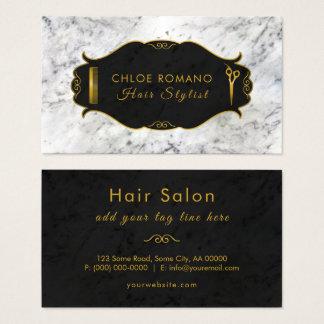 豪華で白い大理石の黒及び金ゴールドの美容師のサロン 名刺