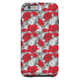 豪華で赤いケシの夏の花模様 ケース