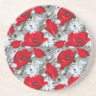 豪華で赤いケシの夏の花模様 コースター