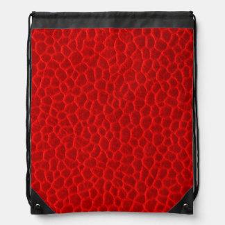 豪華で赤い革質 ナップサック