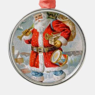 豪華なアメリカの愛国心が強いクリスマスサンタ シルバーカラー丸型オーナメント