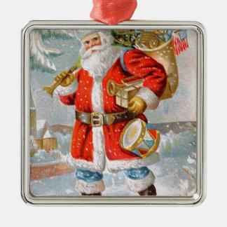 豪華なアメリカの愛国心が強いクリスマスサンタ シルバーカラー正方形オーナメント