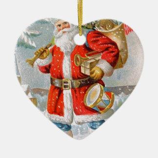 豪華なアメリカの愛国心が強いクリスマスサンタ 陶器製ハート型オーナメント