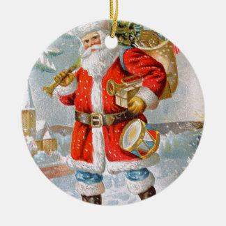 豪華なアメリカの愛国心が強いクリスマスサンタ 陶器製丸型オーナメント