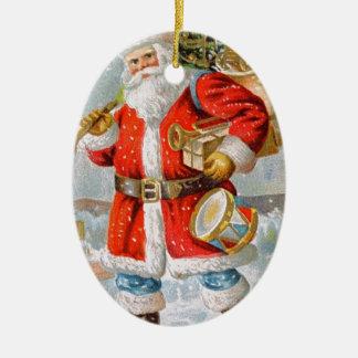 豪華なアメリカの愛国心が強いクリスマスサンタ 陶器製卵型オーナメント
