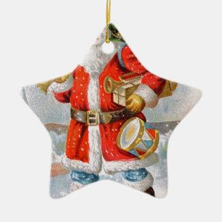 豪華なアメリカの愛国心が強いクリスマスサンタ 陶器製星型オーナメント