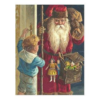 豪華なクリスマスの郵便はがきのビクトリア時代の人サンタ ポストカード